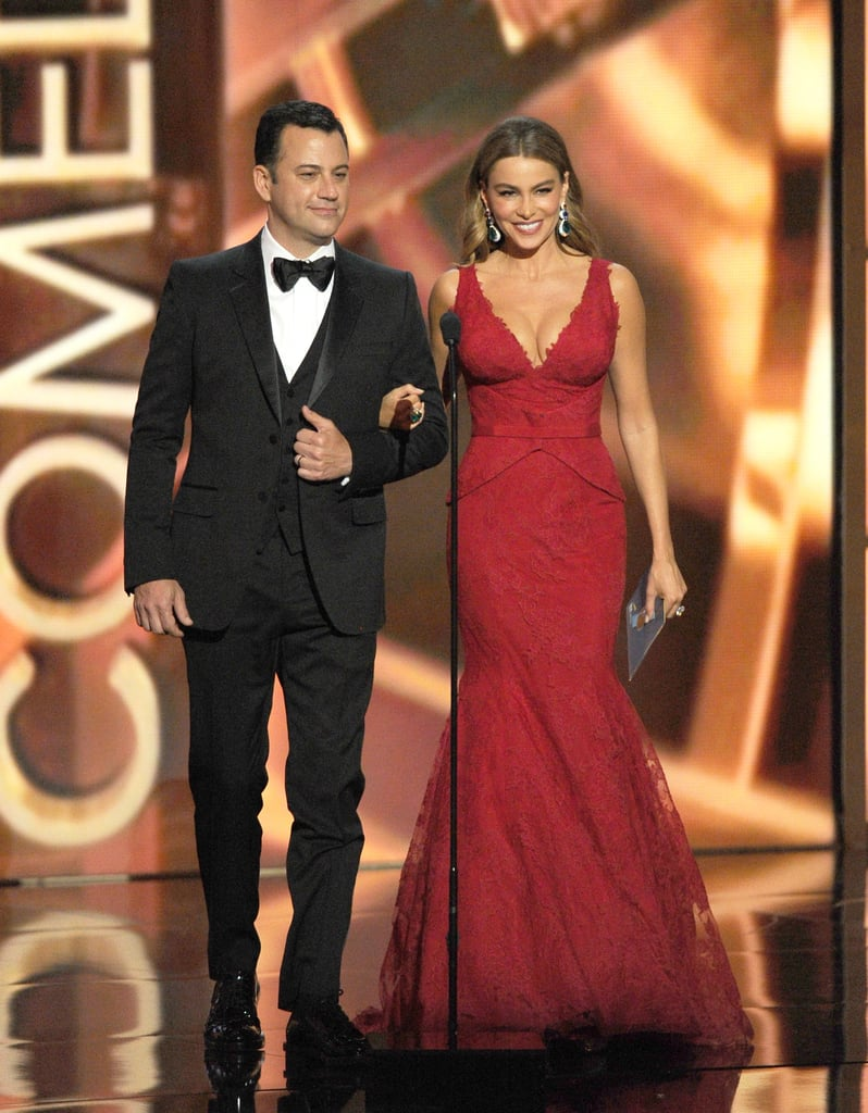 Jimmy Kimmel looked handsome alongside a gorgeous Sofia Vergara when the pair presented at the Emmys.