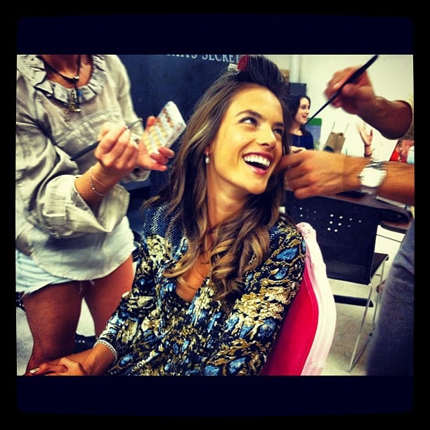 A glam squad touched up Alessandra Ambrosio before her Victoria's Secret appearance in NYC. Source: Instagram user victoriassecret