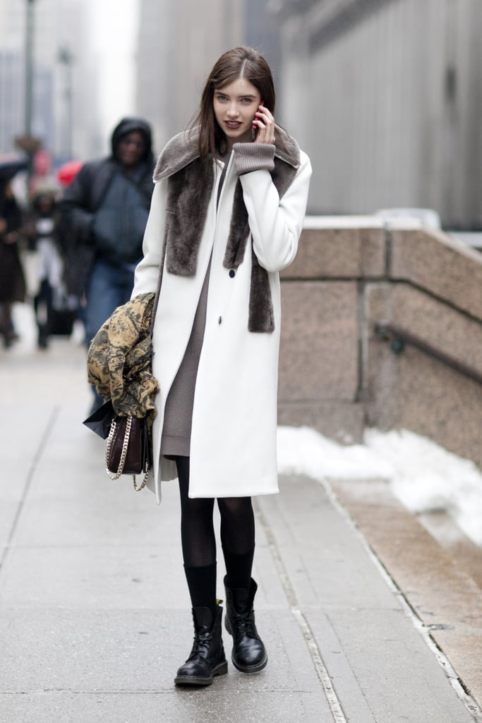 Inject a funkier feel into your go-to Winter look — fur accents and an old-school pair of Dr. Martens should do the trick.