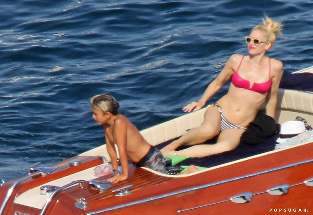 Gwen Stefani lounged in a bikini during a family trip to the Cote d'Azur in August.