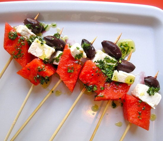 Watermelon, Feta, Olive Skewers