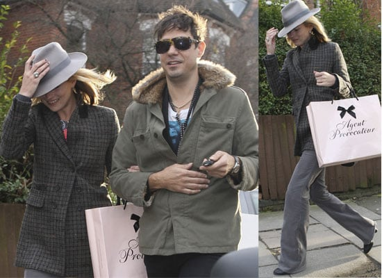 Kate Moss and Jamie Hince Out In London, Kate Wearing A Trilby Hat