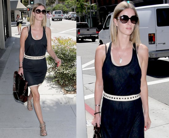 Nicky Hilton Strolls LA Wearing Black Knit Tank Dress With Marni Balloon Tote