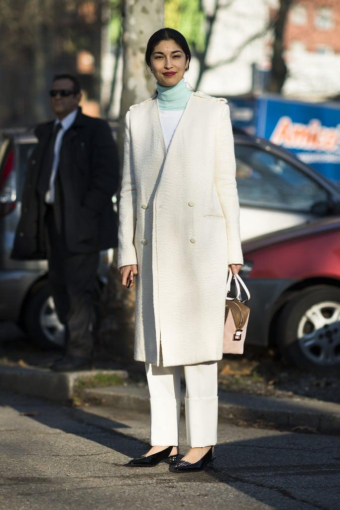 Caroline Issa isn't afraid of a little — or a lot of — Winter white.  Source: Le 21ème | Adam Katz Sinding