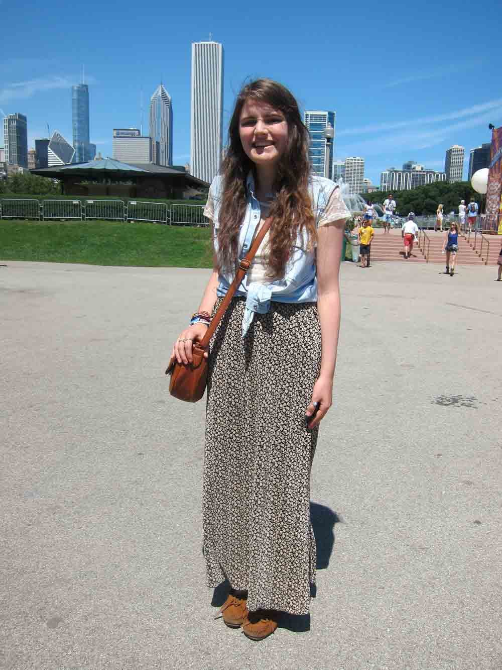 You can't buy style, and it seems Ellie didn't have to! Her look — which included a maxi skirt found at the Salvation Army and old moccasins — comprised items found and borrowed, like her mother's denim vest.