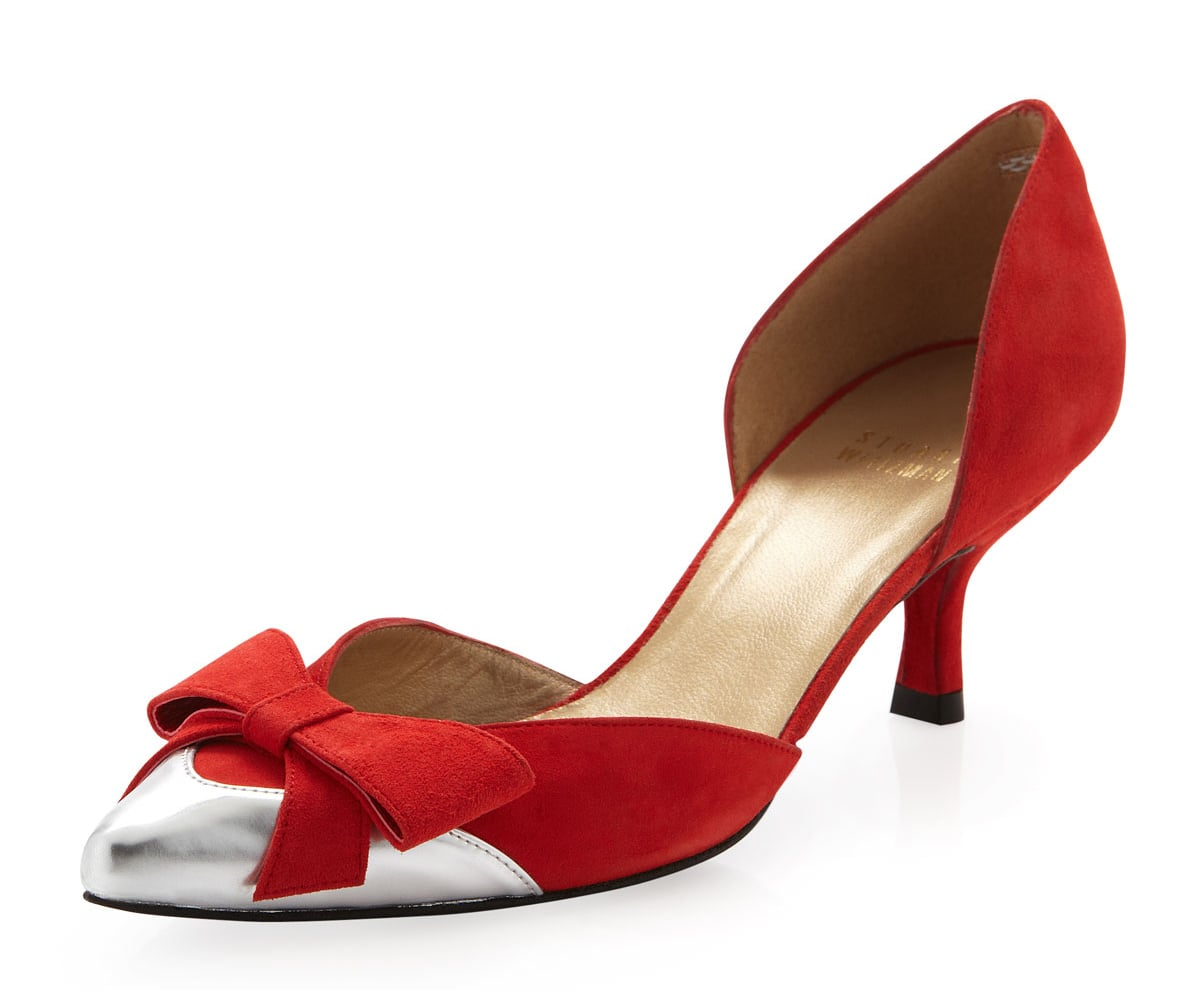 Red Kitten Heel Sandals | Tsaa Heel