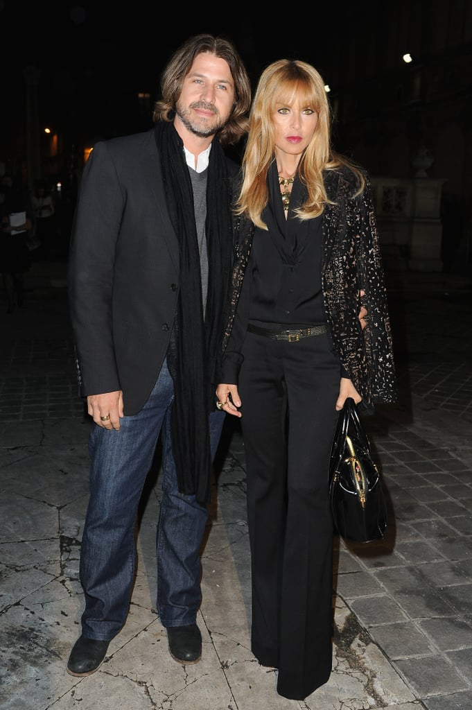 Rachel Zoe and Roger Berman posed outside the Lanvin show.