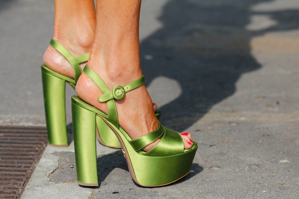 A pair of major green satin platforms caught our eye on the street.