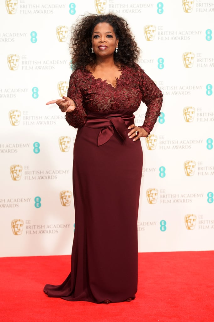 Oprah pointed on the red carpet at an award show in London in February 2014.