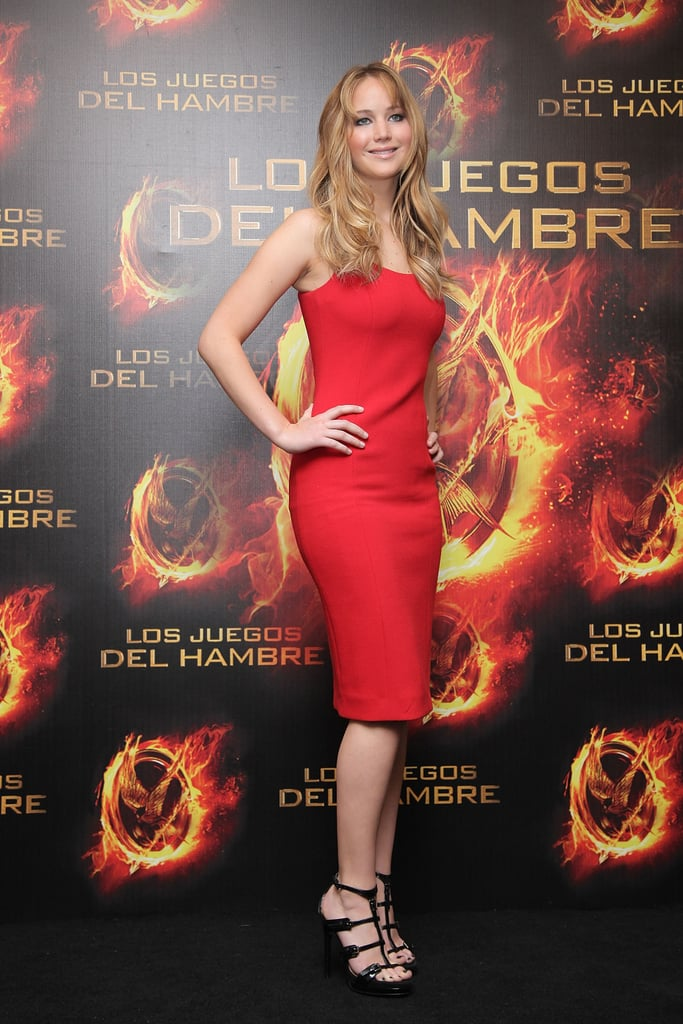 Jennifer Lawrence wore red for a press event in Mexico City last month.
