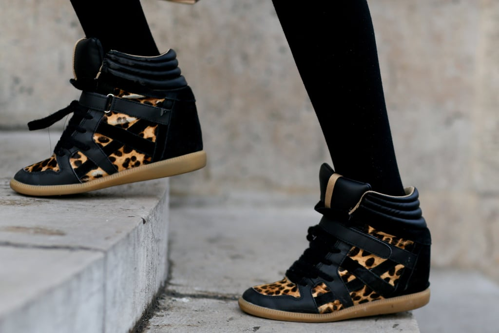 We already love a wedge sneaker; add a leopard print, and we're swooning.