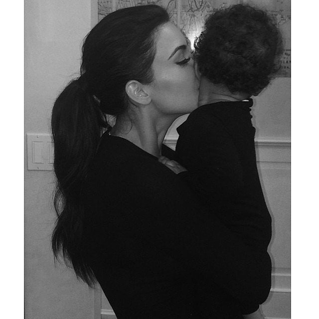 Kim kissed her daughter and shared it on Instagram in July 2014.