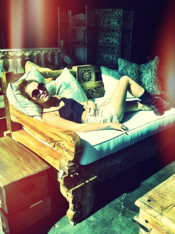 Miley Cyrus lounged during the Memorial Day weekend.  Source: Twitter user MileyCyrus