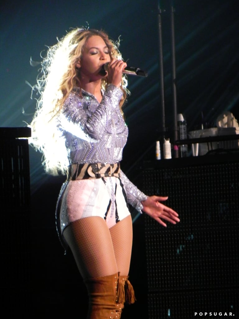 Beyoncé pulled off a beaded leotard and over-the-knee lace-up boots.