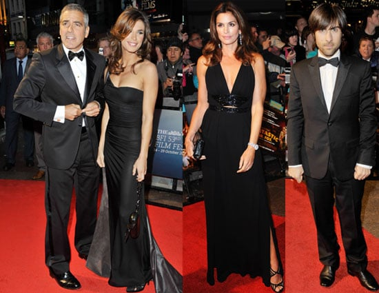 Photos of George Cooney and Elisabetta Canalis On Red Carpet in London at BFI Film Festival Opening Night