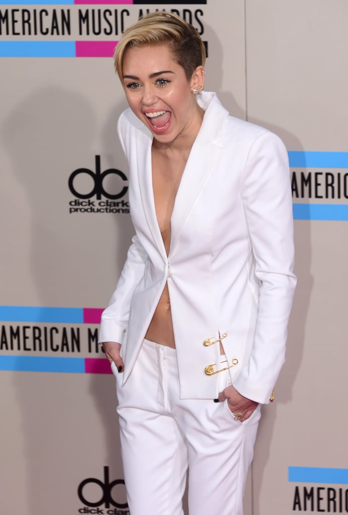 Miley Cyrus got animated on the red carpet.