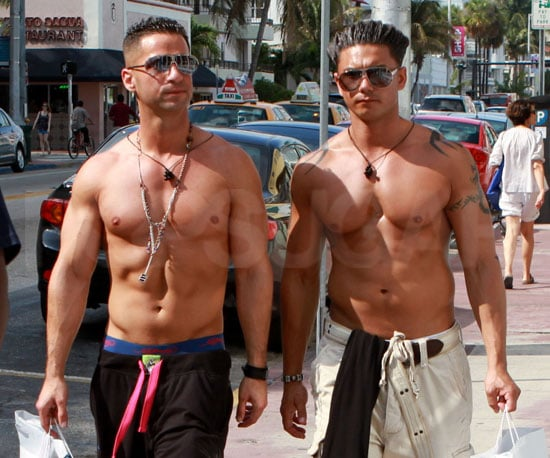 "Slide Picture of Mike ""The Situation"" Sorrentino and Pauly D Shirtless in Miami"