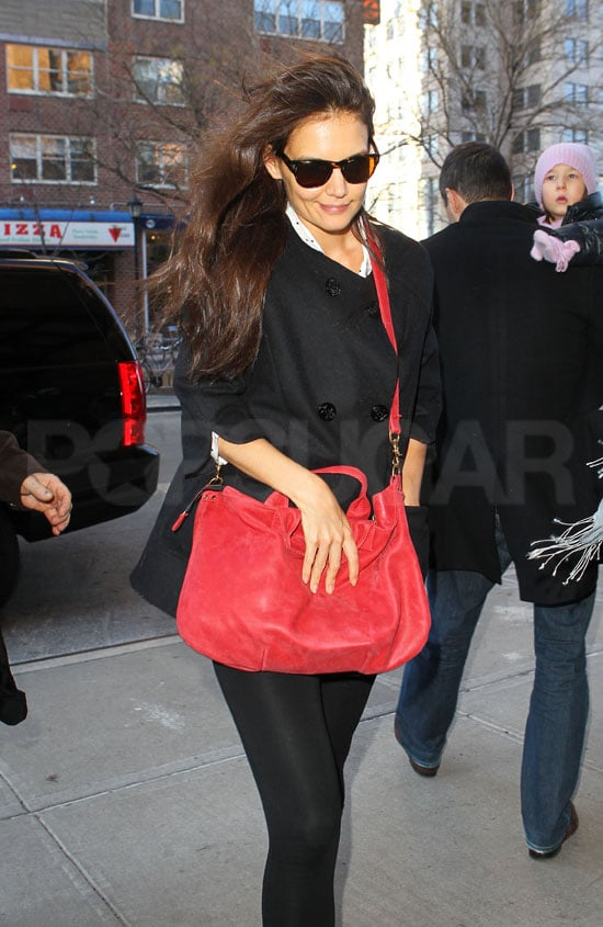 Katie Holmes let her hair down after dance class.