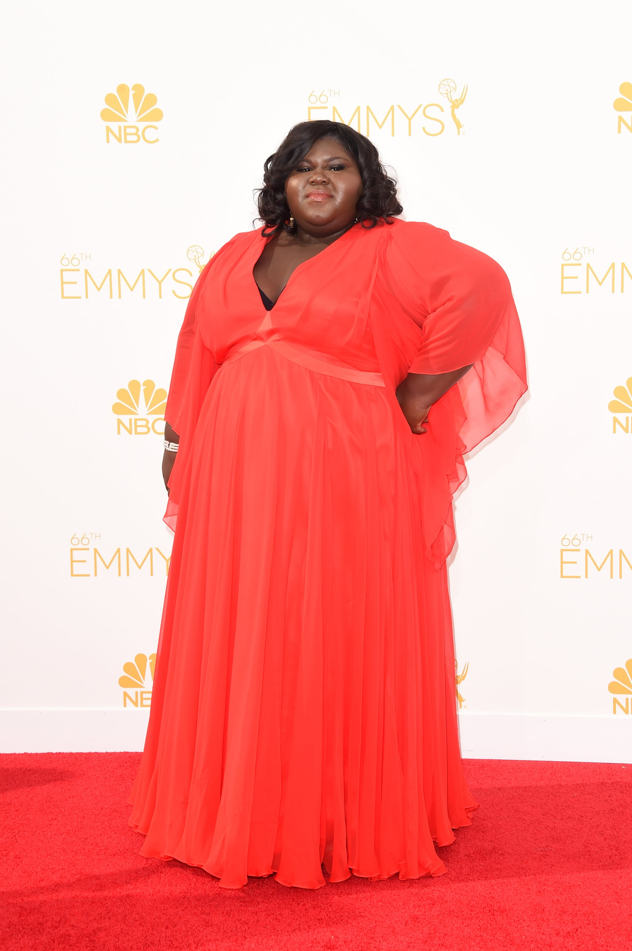 Gabourey Sidibe opted for a vibrant red.