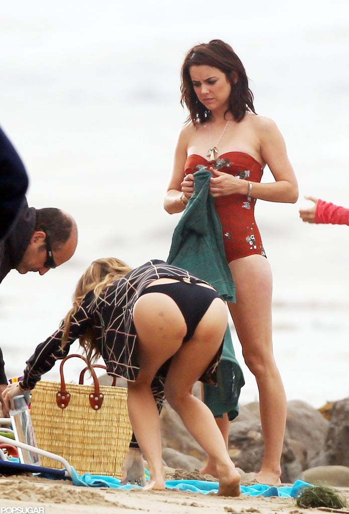 Jessica Stroup wore a bathing suit to shoot 90210.