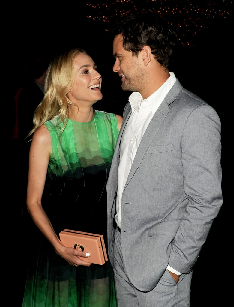Diane Kruger and Joshua Jackson shared a laugh at the premiere of her show The Bridge in LA in July 2013.