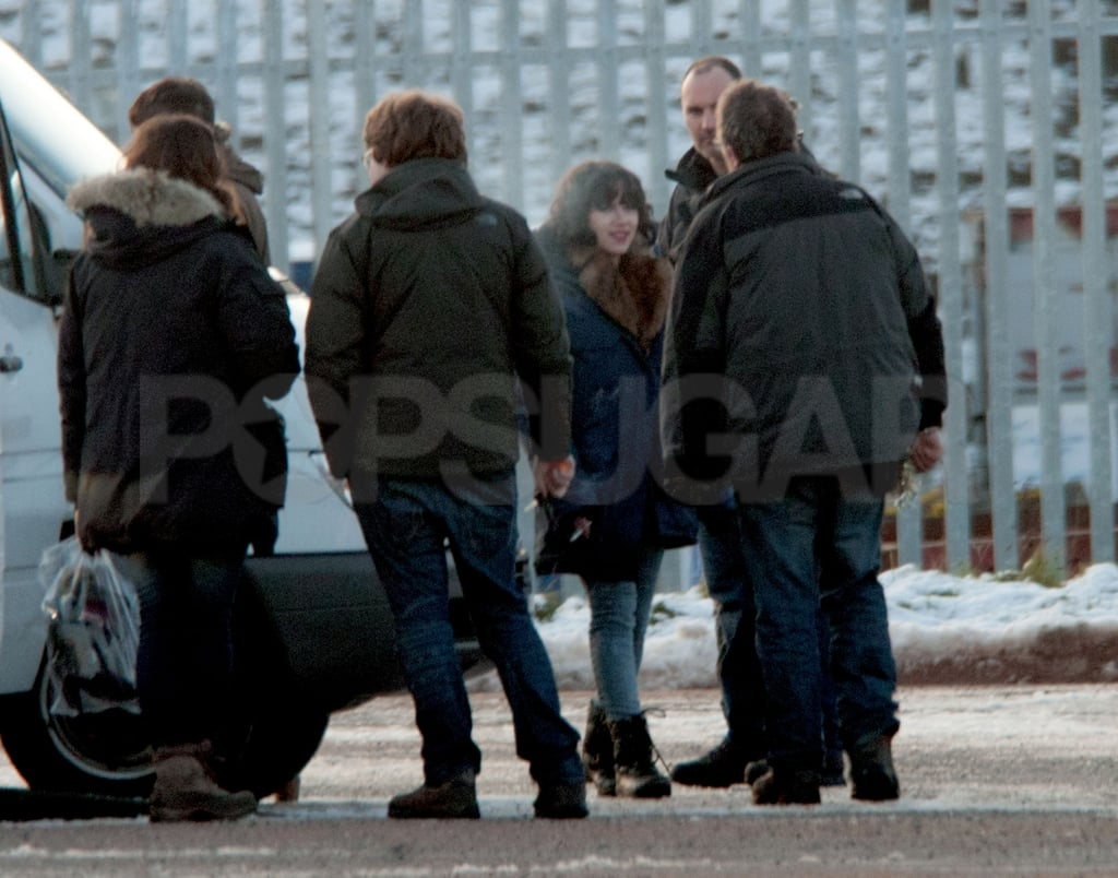 Scarlett Johansson hung out with the cast and crew of Under the Skin on set.