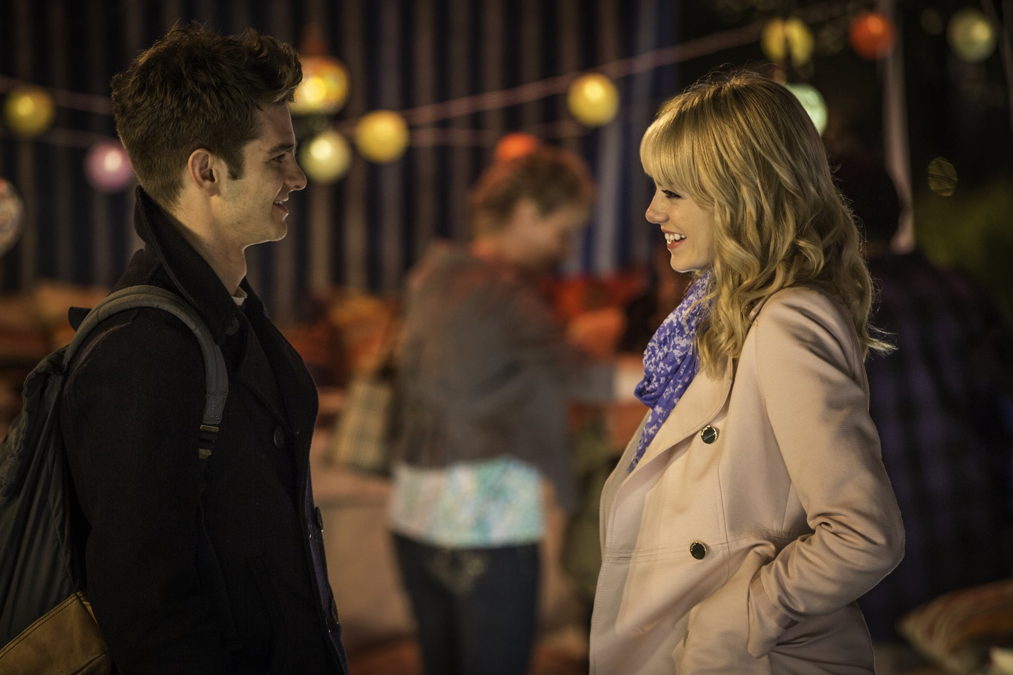 Andrew Garfield as Peter Parker and Emma Stone as Gwen Stacy  in The Amazing Spider-Man 2.