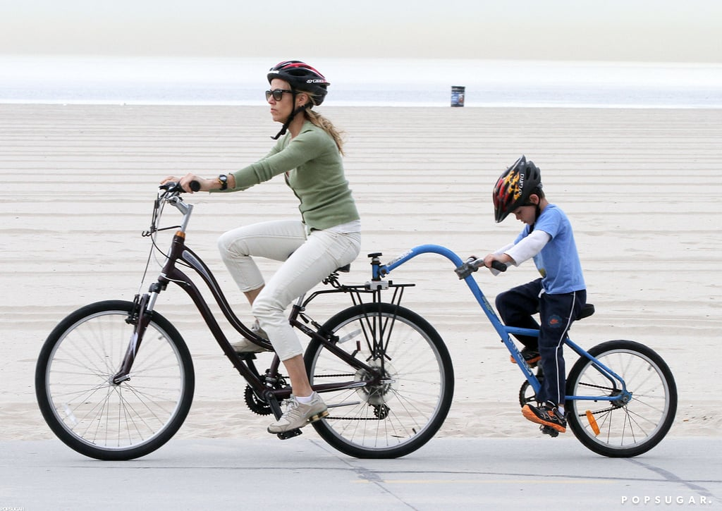 Sheryl Crow went for a bike ride with her son Wyatt.