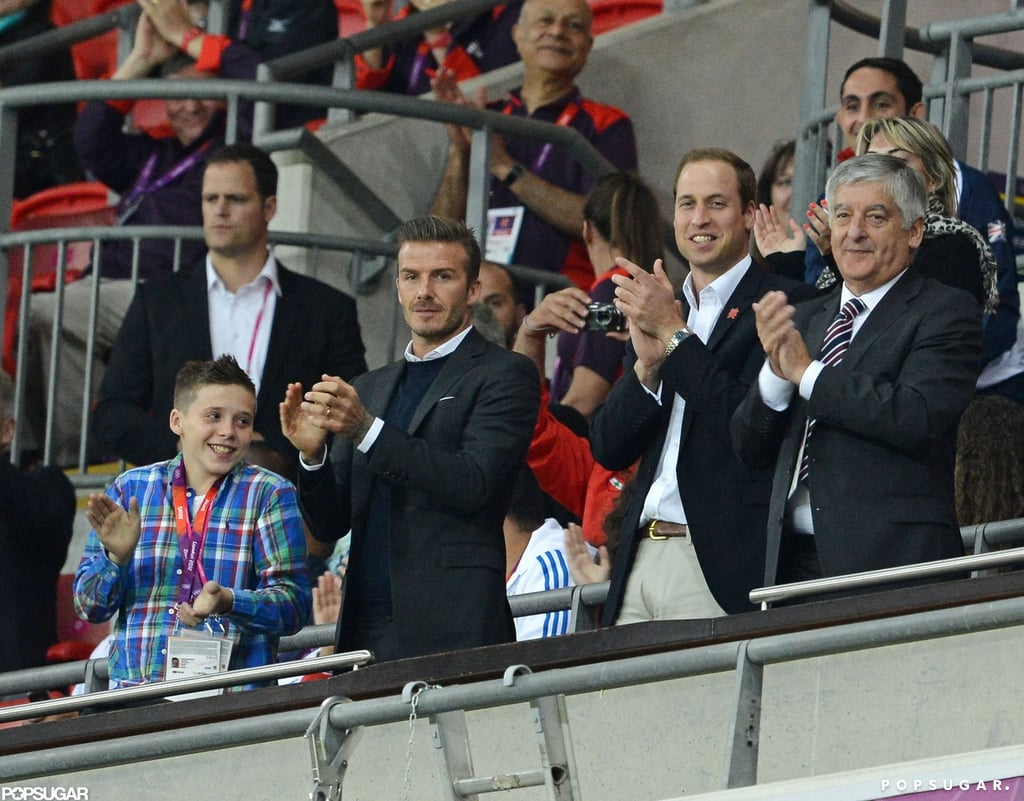 David and Brooklyn Beckham cheered in the stands with Prince William during the Summer Olympic Games in London.
