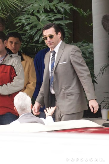 Jon Hamm suited up on the set of Mad Men.