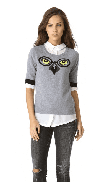 Milly's Winston Intarsia Owl Sweater ($295) has enough personality to base whole outfits around — as we entirely plan on doing.
