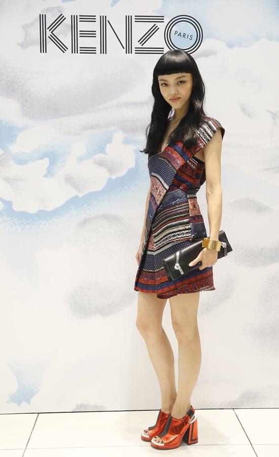 Rila Fukushima helped open Kenzo's Shanghai boutique in the label's printed mini.  Source: Kenzo