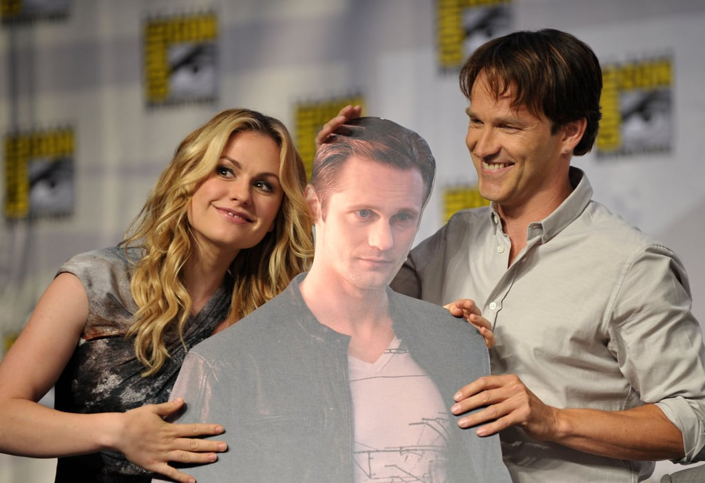 Anna Paquin and Stephen Moyer hugged their absent True Blood costar Alexander Skarsgard while promoting the show in 2010.