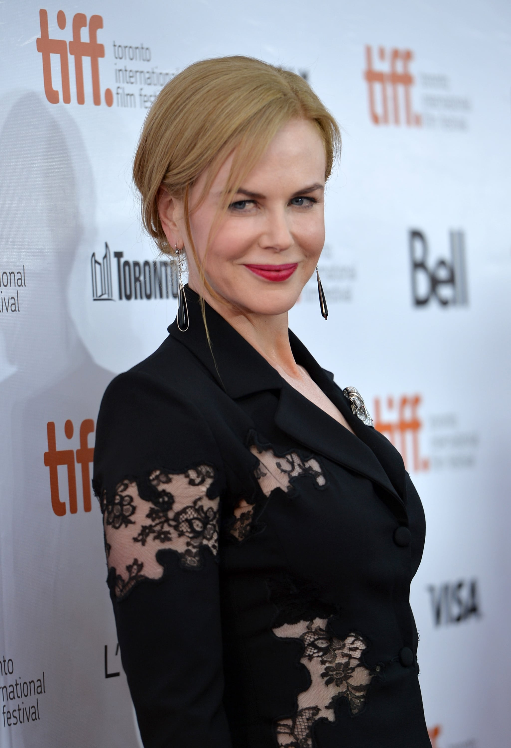 Nicole Kidman wore a lace pantsuit for the premiere of The Railway Man.