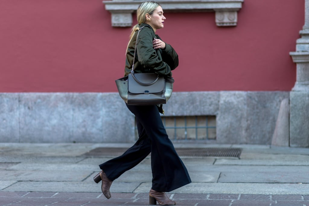 Balance out kick flares (and cover exposed ankles) with a mid-calf boot.