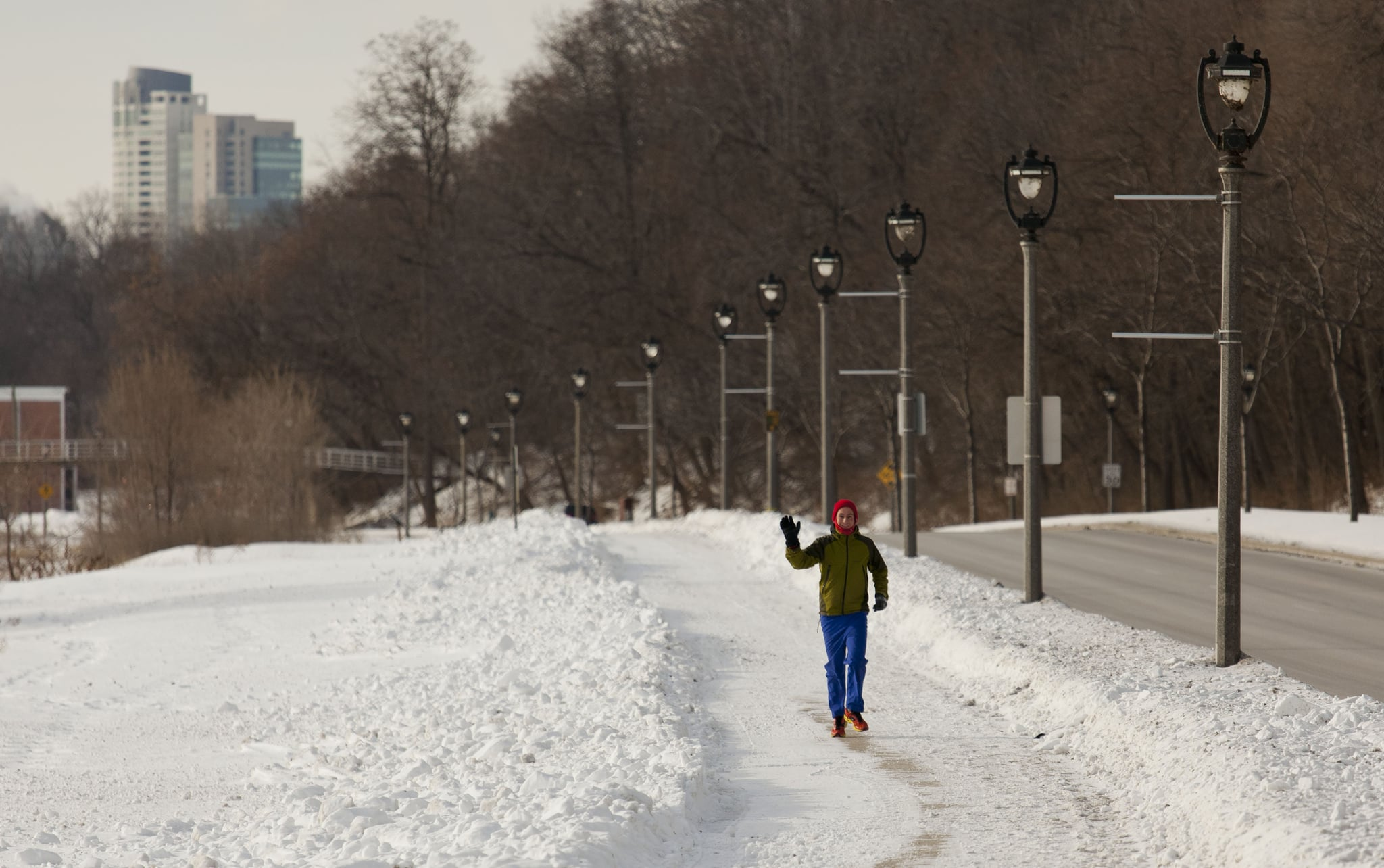 A dedicated runner braved the chilly weather for a jog through Milwaukee.