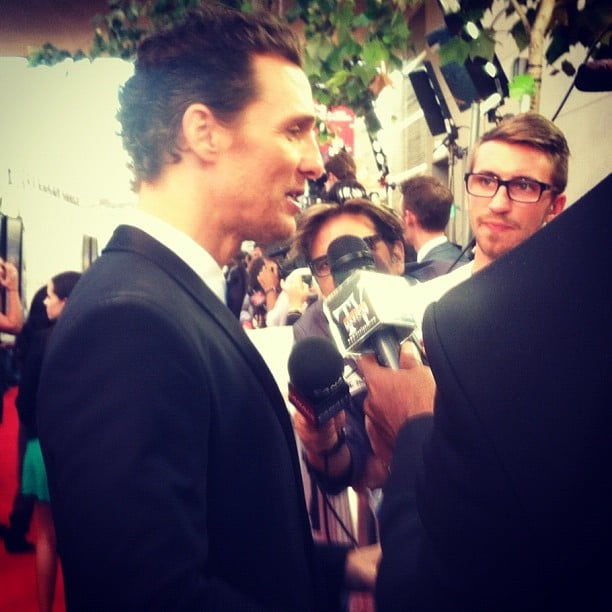 Matthew McConaughey made his way down the press line toward us at the June LA screening of Magic Mike.