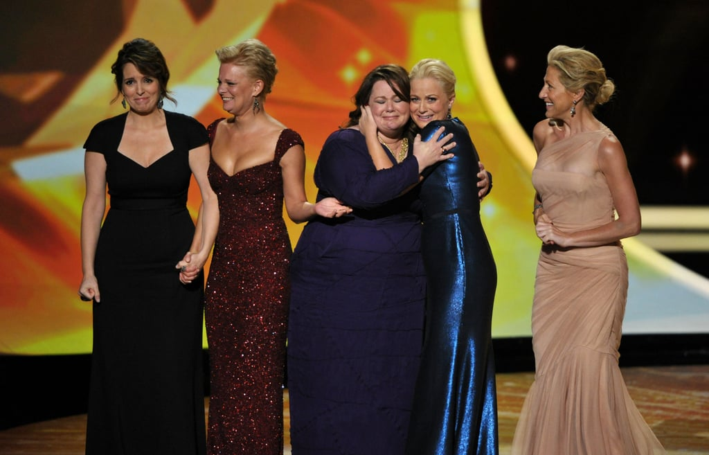 Best actress in a comedy nominees Tina Fey, Martha Plimpton, Melissa McCarthy, Amy Poehler and Edie Falco took the stage together in 2011.