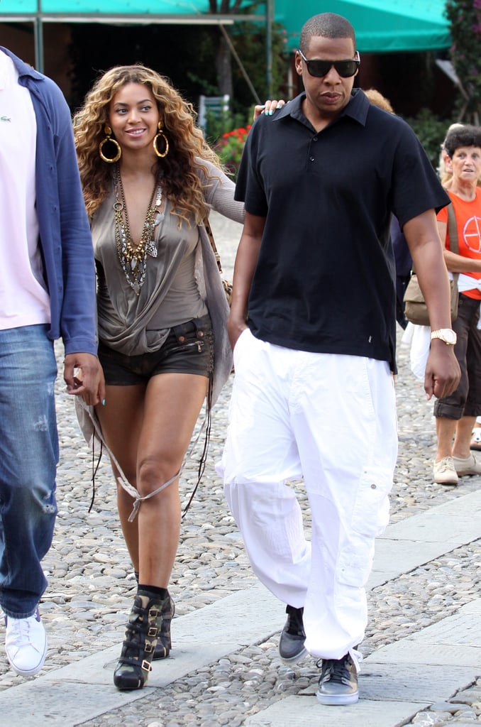 Beyoncé Knowles and Jay-Z took a sweet stroll while vacationing in Italy in August 2010.