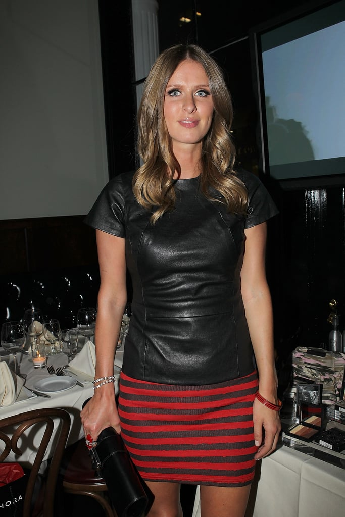 Nicky Hilton sported a leather top.