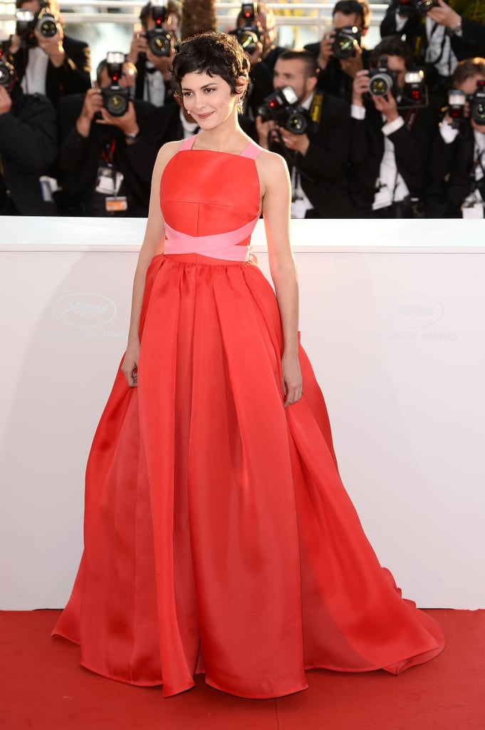 An orange-red shade, accented with a touch of petal pink, looked lovely on actress Audrey Tautou.