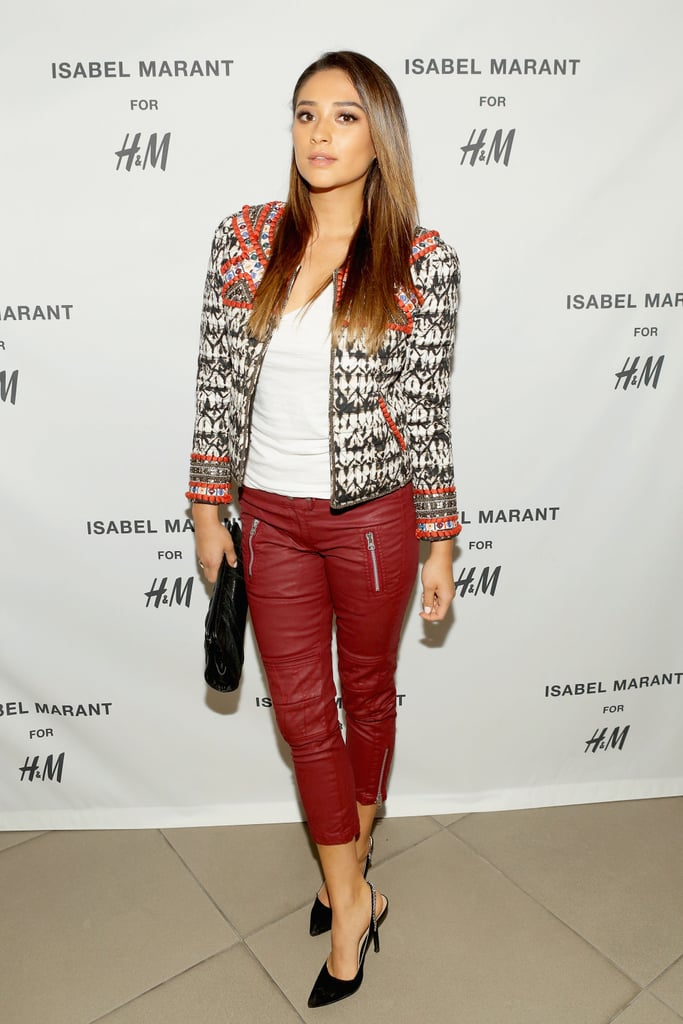 Shay Mitchell showed the power of a statement jacket at the launch party for the collaboration in Los Angeles.