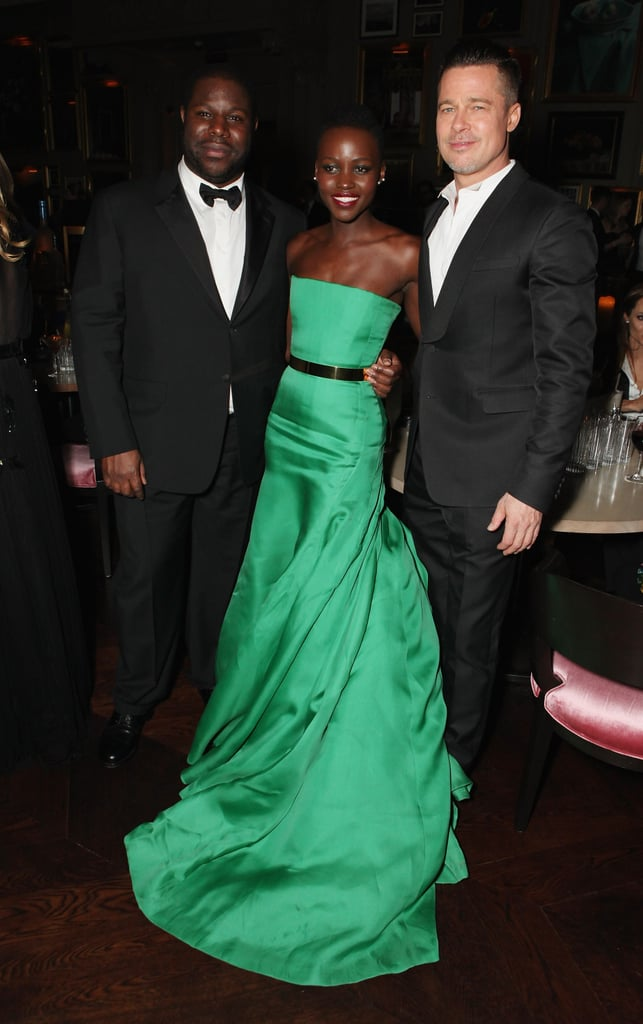 Even though she didn't take home the best supporting actress BAFTA, Lupita still got to party with Brad Pitt and director Steve McQueen.
