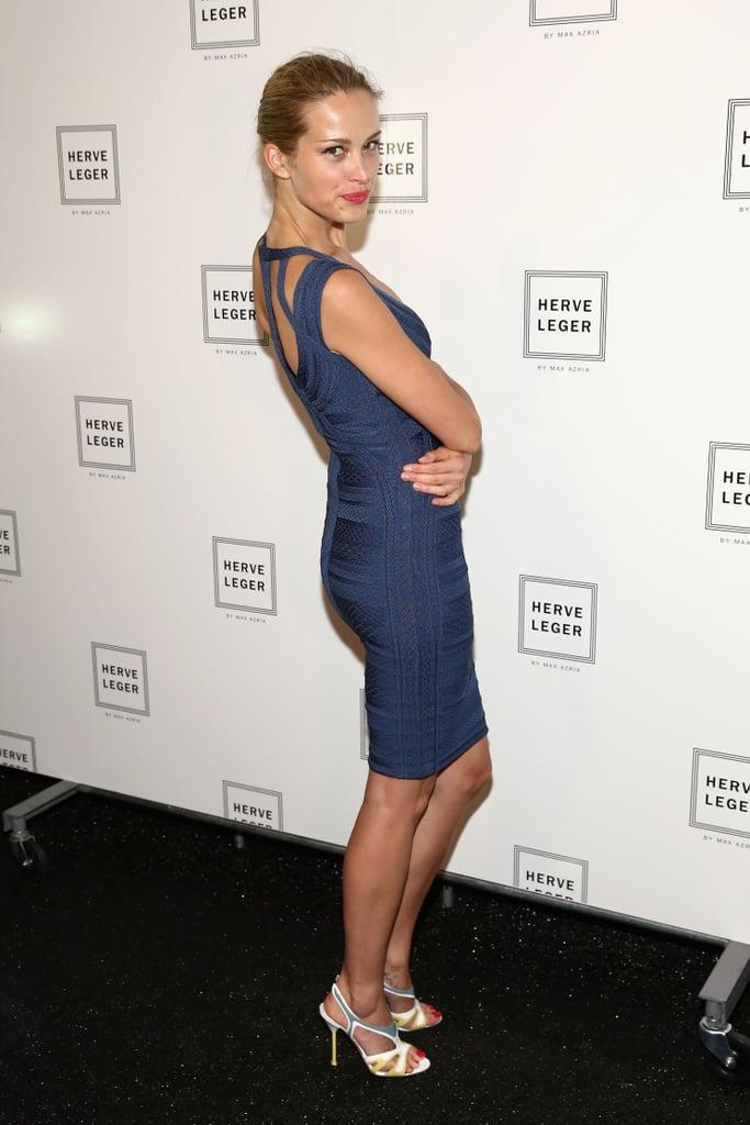 Petra Nemcova struck a sexy pose at the Hervé Léger show on Saturday.