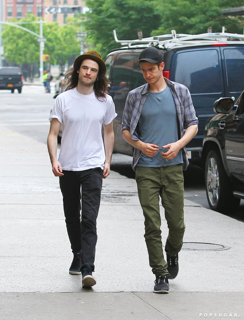 Tom Sturridge and Andrew Garfield had lunch together at Bubby's in NYC.