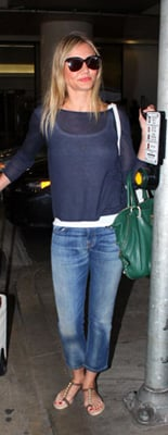 Cameron Diaz Travel Style Green Purse and Sheer Blue Sweater
