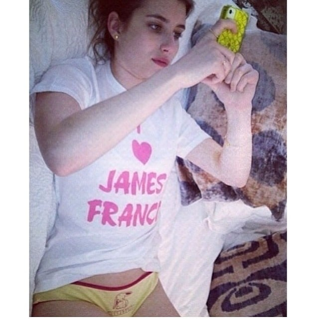 To promote their new student/teacher affair movie Palo Alto, James Franco posted a photo of Emma Roberts. Source: Instagram user jamesfrancotv