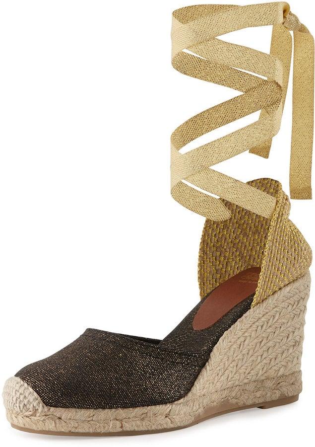 Andre Assous Hilda Espadrille Wedge Sandal, Black/Gold ($119)