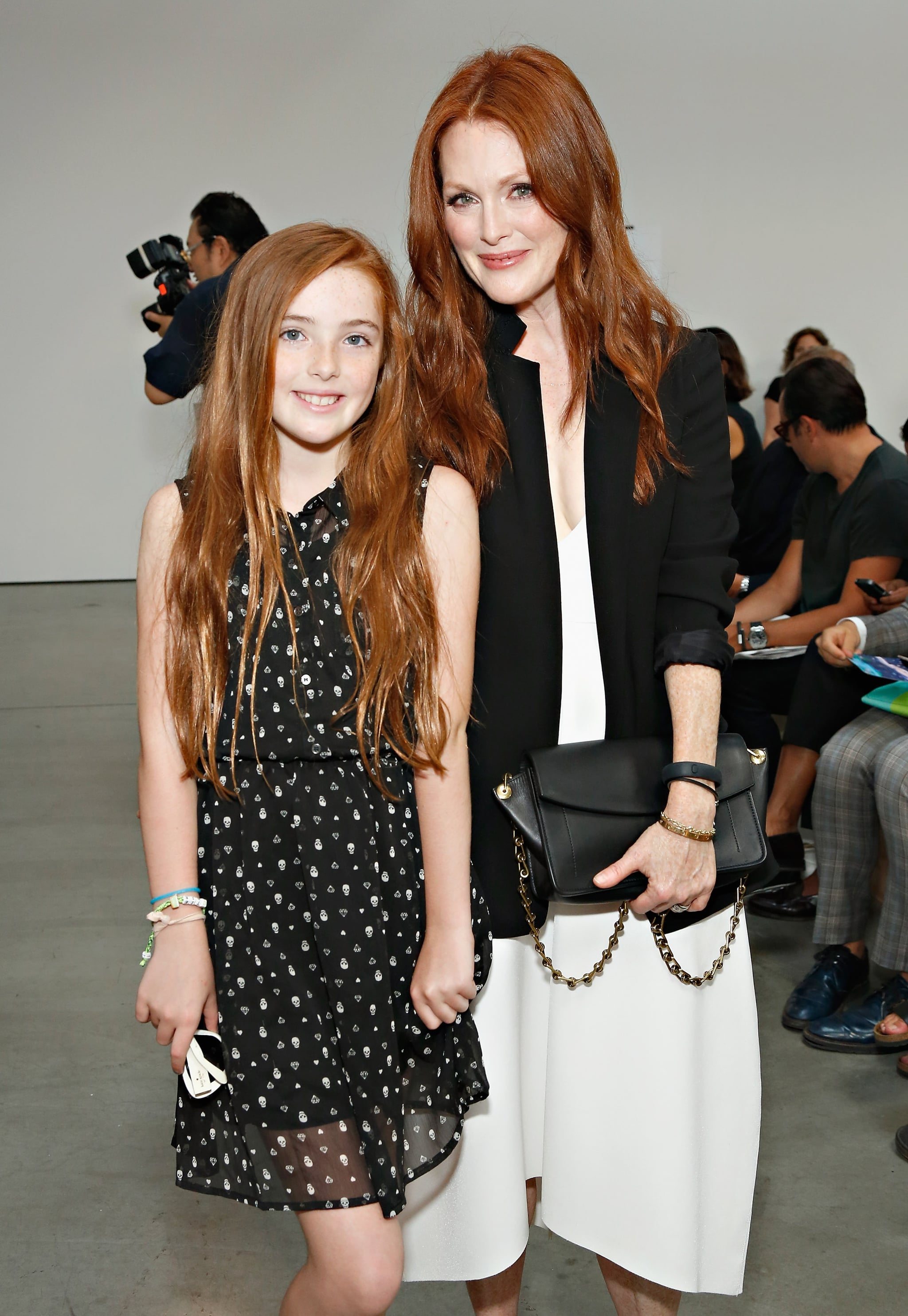Julianne Moore and her look-alike daughter Liv Freundlich at the Reed Krakoff show on Wednesday.