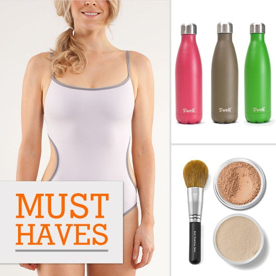 Fit's excited about sporty swimsuits, sweatproof makeup, and a water bottle that doubles as a wine pack.
